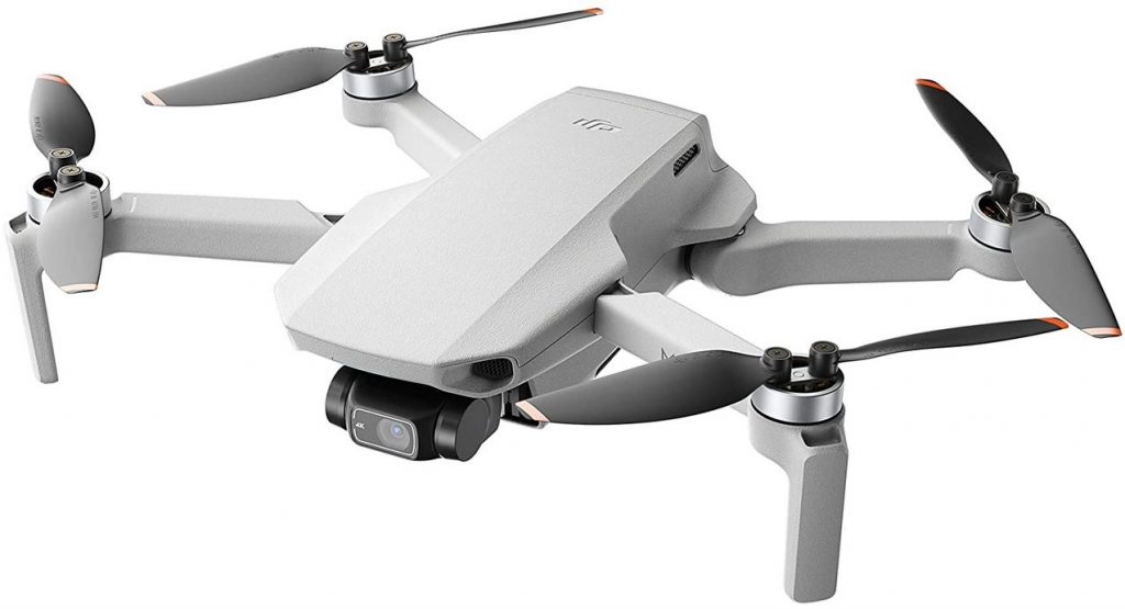 drone DJI mini 2 avec rotor noir et orange camera 4k HD et photo de 12MP