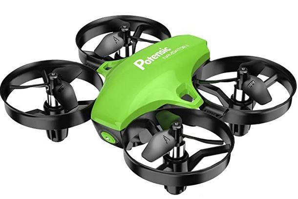 drone de course vert fluo et noir pour enfant avec protection des 4 rotors