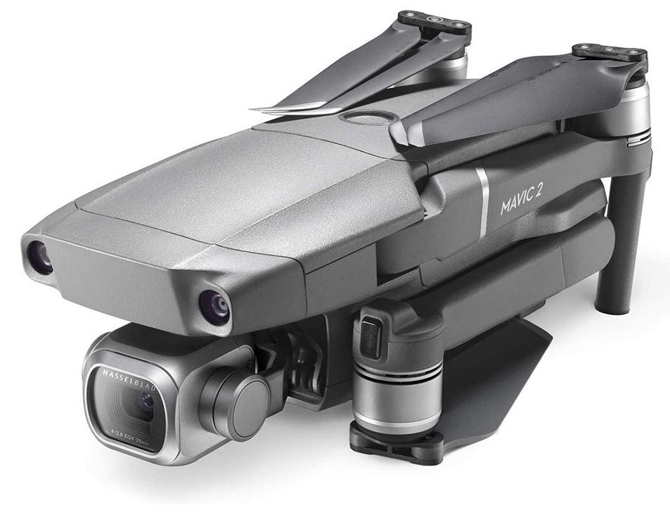 le drone DJI Mavic 2 pro plie couleur gris argente avec sa camera Hasselblad 4k avec resolution HDR 10 bits