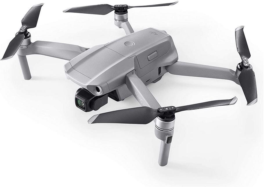 le drone DJI Mavic Air 2 deplie couleur gris argente et helices noires avec video 4k ultra HD et photo de 40 megapixel