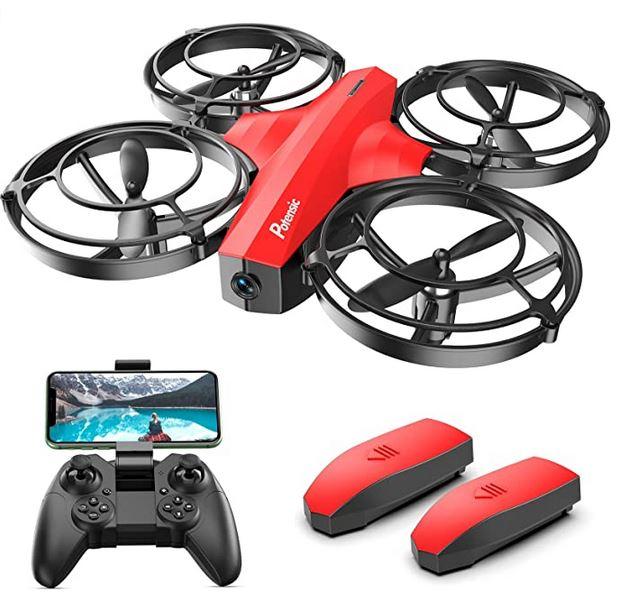 mini drone de la marque Potensic modele P7 rouge avec ses 4 helices protegees des eventuels chocs et chutes