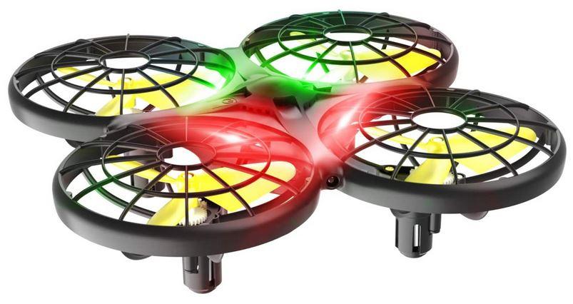 petit drone noir avec helices jaune assez basique de la marque Loolinn pour les enfants